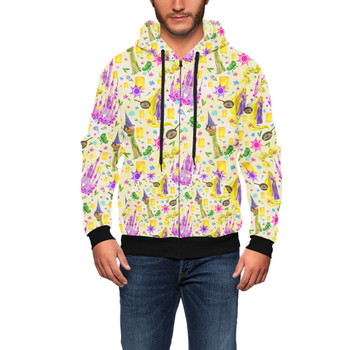 Men's Zip Up Hoodie - Watercolor Tangled