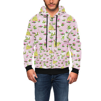 Men's Zip Up Hoodie - Watercolor Princess Tiana & The Frog