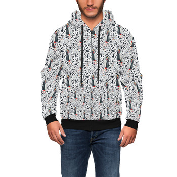 Men's Zip Up Hoodie - Watercolor Cruella & Her Puppies
