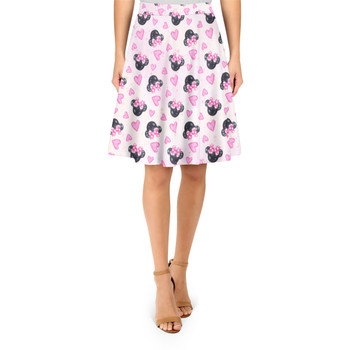 A-Line Skirt - Watercolor Minnie Mouse In Pink