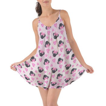 Beach Cover Up Dress - Watercolor Minnie Mouse In Pink