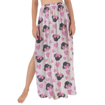 Maxi Sarong Skirt - Watercolor Minnie Mouse In Pink