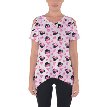 Cold Shoulder Tunic Top - Watercolor Minnie Mouse In Pink