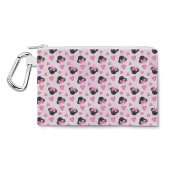 Canvas Zip Pouch - Watercolor Minnie Mouse In Pink