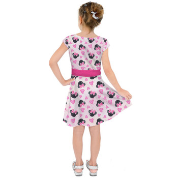 Girls Short Sleeve Skater Dress - Watercolor Minnie Mouse In Pink