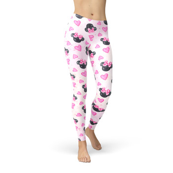 Winter Leggings - Watercolor Minnie Mouse In Pink