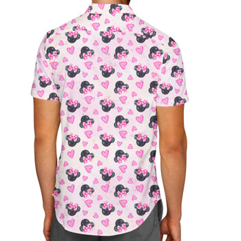 Men's Button Down Short Sleeve Shirt - Watercolor Minnie Mouse In Pink
