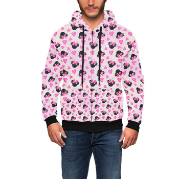 Men's Zip Up Hoodie - Watercolor Minnie Mouse In Pink