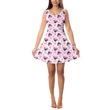 Sleeveless Flared Dress - Watercolor Minnie Mouse In Pink