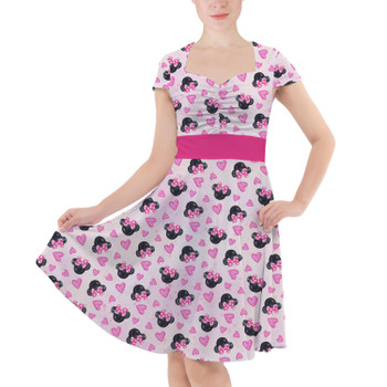 Sweetheart Midi Dress - Watercolor Minnie Mouse In Pink