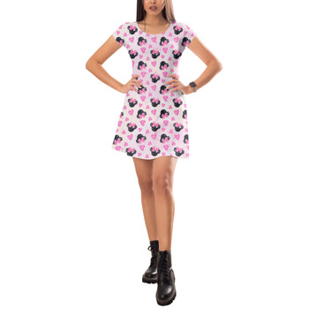 Short Sleeve Dress - Watercolor Minnie Mouse In Pink