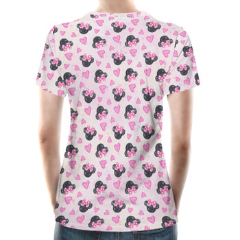 Women's Cotton Blend T-Shirt - Watercolor Minnie Mouse In Pink