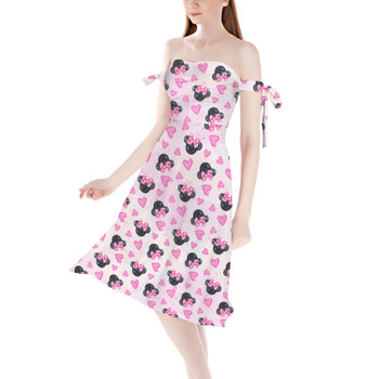 Strapless Bardot Midi Dress - Watercolor Minnie Mouse In Pink