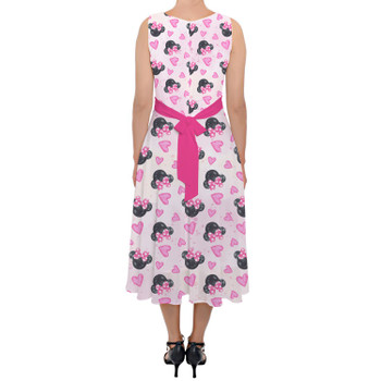 Belted Chiffon Midi Dress - Watercolor Minnie Mouse In Pink