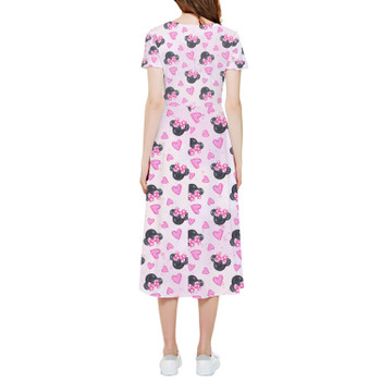 High Low Midi Dress - Watercolor Minnie Mouse In Pink