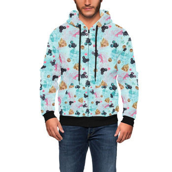 Men's Zip Up Hoodie - Watercolor Minnie Mermaids