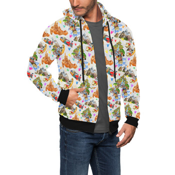 Men's Zip Up Hoodie - Watercolor Disney Parks Trains & Drops