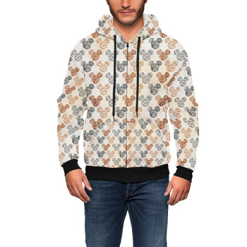 Men's Zip Up Hoodie - Safari Mickey Ears