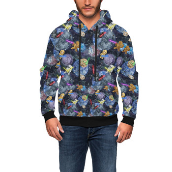 Men's Zip Up Hoodie - Watercolor Star Wars Battle