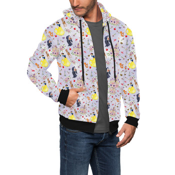 Men's Zip Up Hoodie - Watercolor Princess Snow White