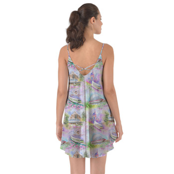 Beach Cover Up Dress - Watercolor Disney Monorail
