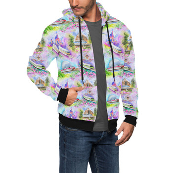 Men's Zip Up Hoodie - Watercolor Disney Monorail