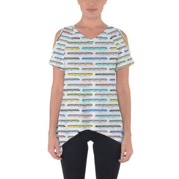 Cold Shoulder Tunic Top - Disney Monorail Rainbow