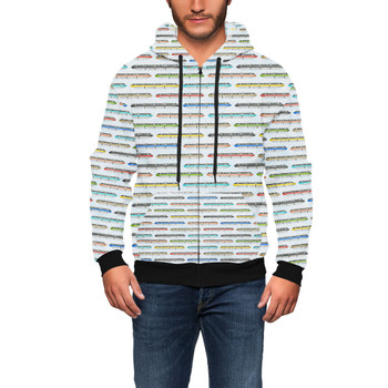 Men's Zip Up Hoodie - Disney Monorail Rainbow