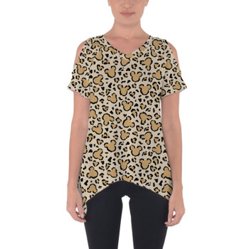Cold Shoulder Tunic Top - Mouse Ears Animal Print
