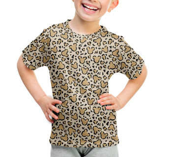 Youth Cotton Blend T-Shirt - Mouse Ears Animal Print