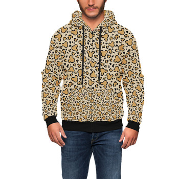 Men's Zip Up Hoodie - Mouse Ears Animal Print