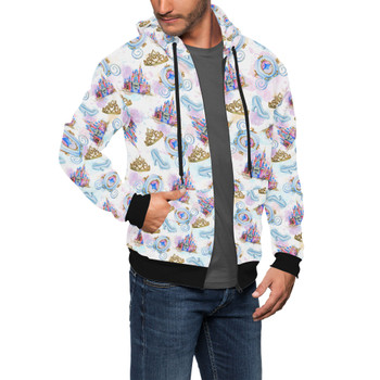 Men's Zip Up Hoodie - Watercolor Cinderella