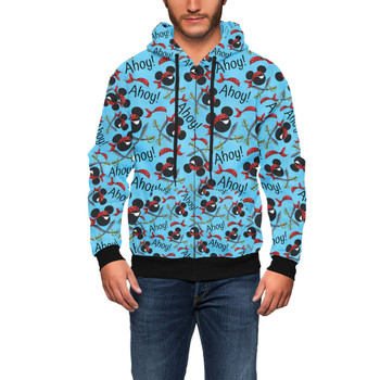 Men's Zip Up Hoodie - Pirate Mickey Ahoy!