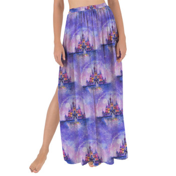 Maxi Sarong Skirt - Watercolor Disney Castle