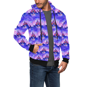 Men's Zip Up Hoodie - Watercolor Disney Castle