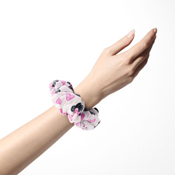 Velvet Scrunchie - Watercolor Minnie Mouse In Pink