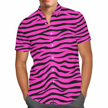 Mens Button Down Short Sleeve Shirt - XL -  Zebra Print Hot Pink - READY TO SHIP