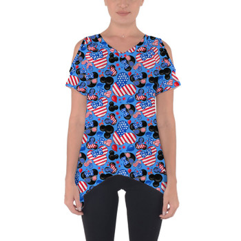 Cold Shoulder Tunic Top - Mickey's Fourth of July