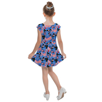 Girls Cap Sleeve Pleated Dress - Mickey's Fourth of July