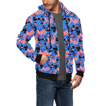 Men's Zip Up Hoodie - Mickey's Fourth of July