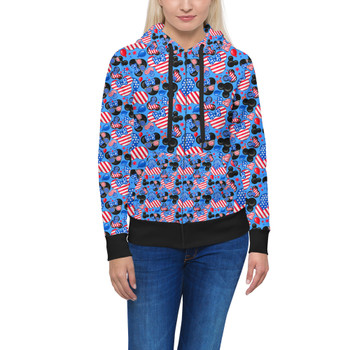 Women's Zip Up Hoodie - Mickey's Fourth of July