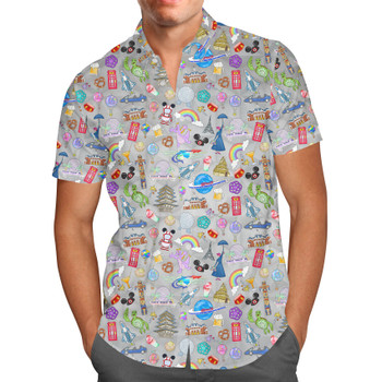 Men's Button Down Short Sleeve Shirt - The Epcot Experience