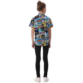 Kids' Button Down Short Sleeve Shirt - Tomorrowland Vintage Attraction Posters