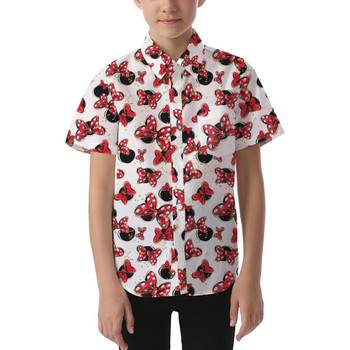Kids' Button Down Short Sleeve Shirt - Minnie Bows and Mouse Ears