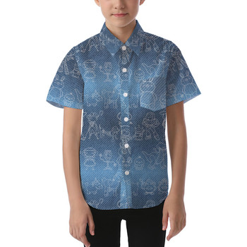 Kids' Button Down Short Sleeve Shirt - Toy Story Line Drawings