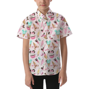 Kids' Button Down Short Sleeve Shirt - Mouse Ears Snacks in Pastel Watercolor