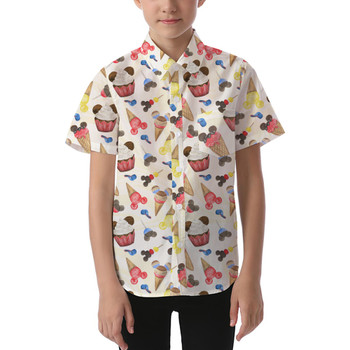 Kids' Button Down Short Sleeve Shirt - Mouse Ears Snacks in Primary Color Watercolor