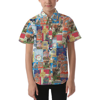 Kids' Button Down Short Sleeve Shirt - Holiday Attraction Posters Disney Parks