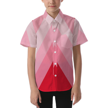 Kids' Button Down Short Sleeve Shirt - The Candy Cane Wall