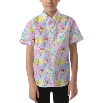 Kids' Button Down Short Sleeve Shirt - Cotton Candy Mouse Ears